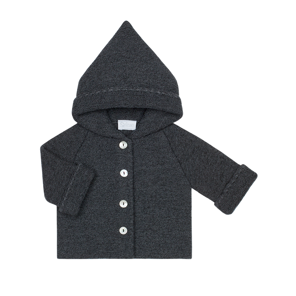hooded jacket - 100% organic merino wool